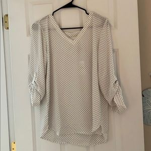 White LOFT outlet blouse with blue polka dots